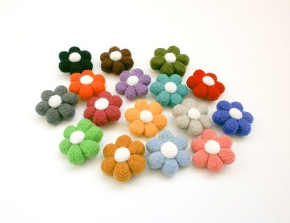 Felted Flower Brooch Rainbow Colors Birthday от CreativeAtelierBg