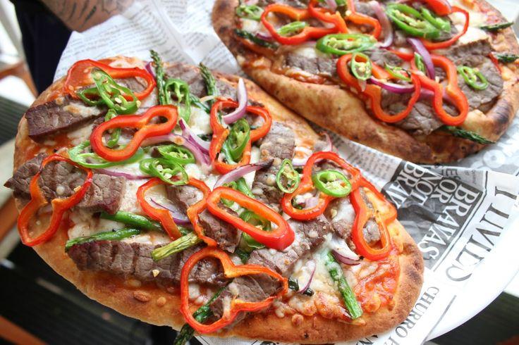 Spicy BBQ Steak Naan Pizza