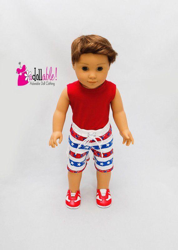 18 inch boy doll clothing Fits like American girl boy doll clothes 18 inch boy doll clothes Boy boardshorts