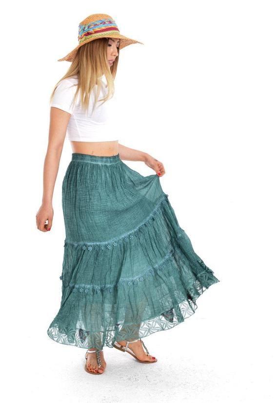 72b3427bd Bohemian Skirt, Gypsy skirt, eco skirt, black skirt, skirts for ...