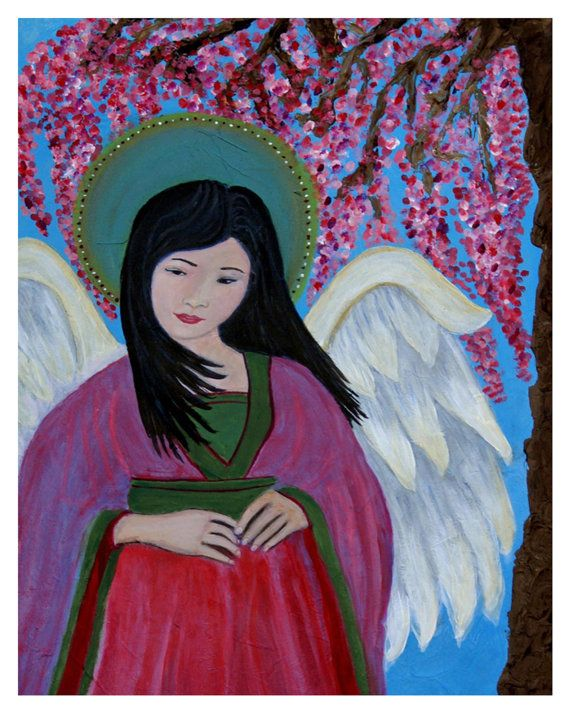 Original Fine Art 8 by 10 print Asian Angel, Child's Room Wall Art, pink, Girl's Room, Cherry Tree, Guardian angel, Child portrait, Angel