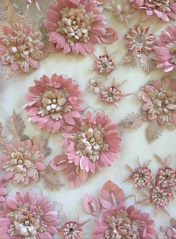 Breathtaking Sunflower Pink Hand Beaded And Applique Fabric Etsy In 2020 Fabric Flowers Diy Applique Fabric Fabric Flowers