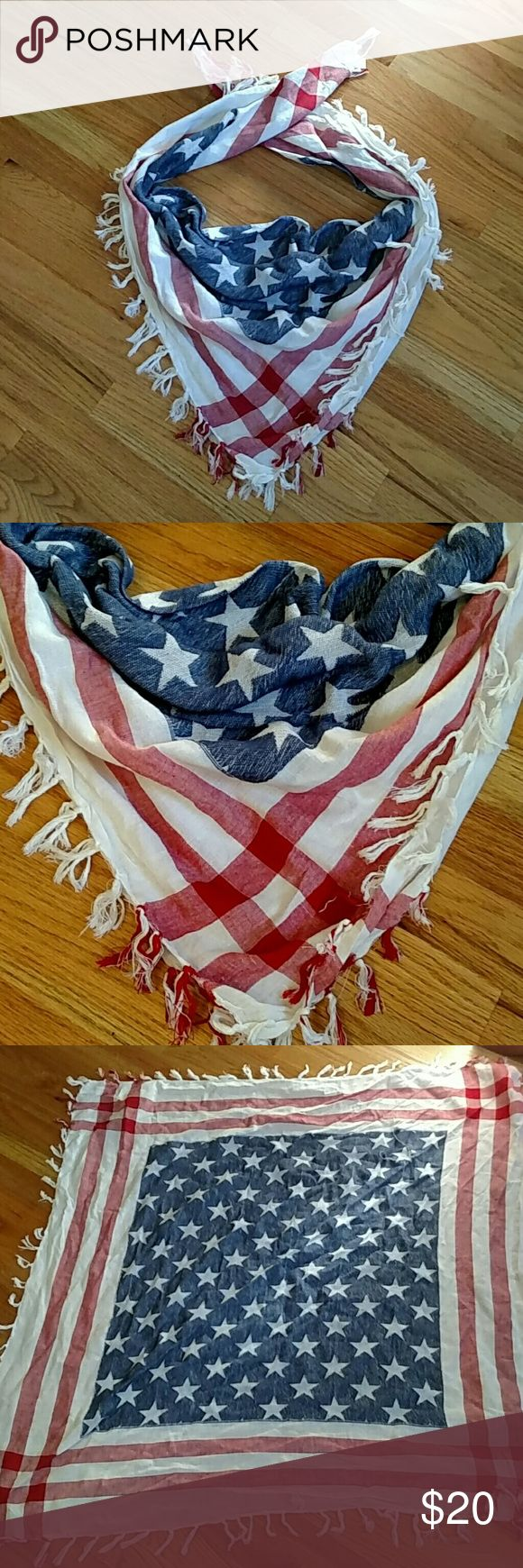 American flag fourth of july scarf Adorable scarf for and patriotic holiday. Is a squares but folds into a triangle to become a scarf, and can be worn other ways. Ask any questions. Accessories Scarves & Wraps