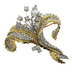 Diamond Gold Platinum Flower Pin Brooch | Estate Jewelry, Diamond Jewelry for Sale, Estate Jewelry for Sale, Sell My Diamonds Los Angeles, Los Angeles Diamond Buyers