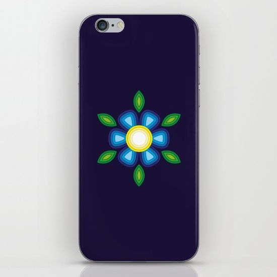 Blue Flower iPhone & iPod Skin by FishDesigns | Society6