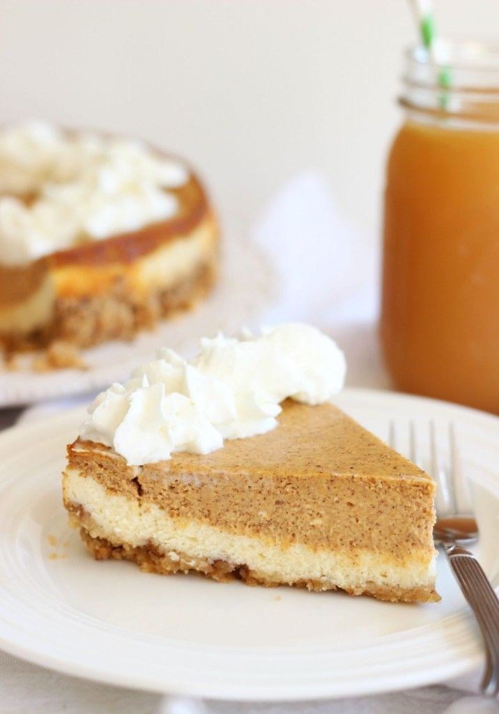 Double Layer Pumpkin Cheesecake with the perfect blend of spices, pumpkin flavor, cheesecake, and a shortbread pecan crust. It's also EASY. I promise. #recipe #thegoldlininggirl