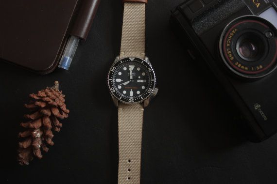 Khaki Canvas Leather Watch Strap Handmade for by SIMPLEASTRAPS
