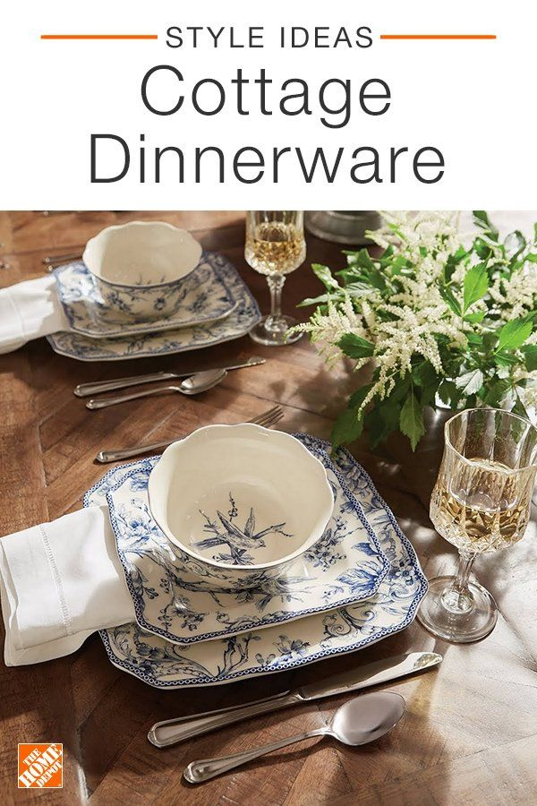 At The Home Depot Dinnerware Inspired By 1700s Toile Paired With Classic Flatware And Drinkware Can Be Used T Dinnerware Christmas Dinnerware Classic Flatware