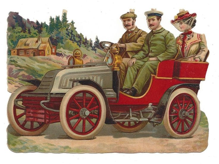 Victorian Die Cut Scrap Driving in Open Air Car