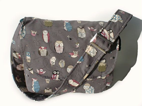 Owl Messenger  Bag / Purse/ Gray Owl Bag / by VintageGaleria, $45.95 I must have this bag!