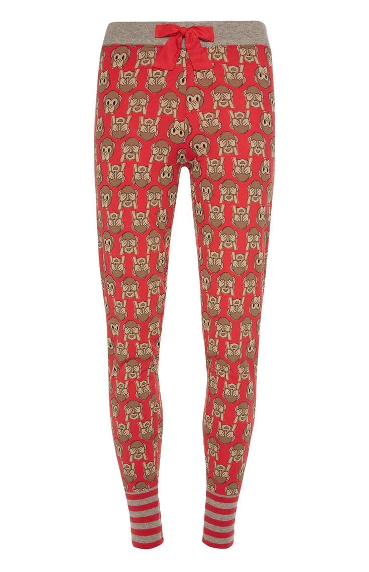 Primark - Rode pyjamalegging met leuke print