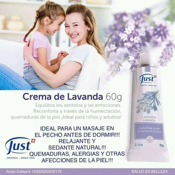 Crema de lavanda just para bebes