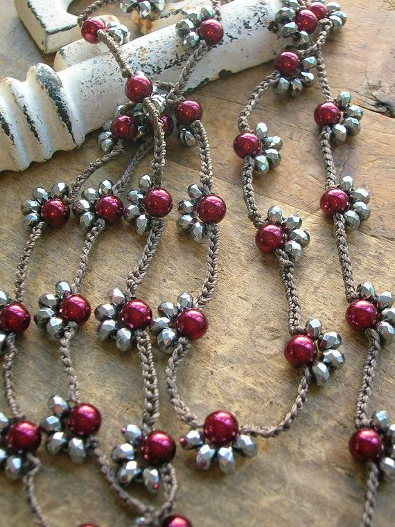 Long crochet necklace Starlet silver wine pearls por 3DivasStudio