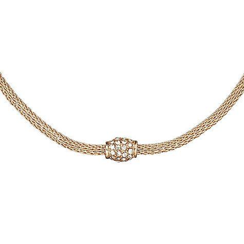 Buy John Lewis Fine Diamante Mesh Necklace, Rose Gold Online at johnlewis.com
