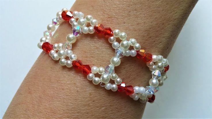 Make a wide bracelet with 2 narrow bracelets. Easy beading pattern - YouTube