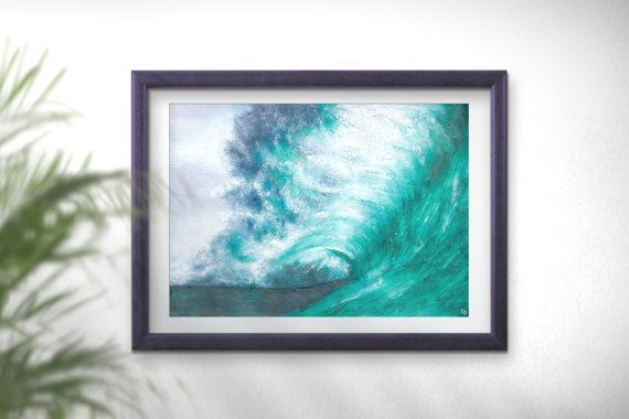 Sea wave art decor teal painting Wave art PRINT large by FraBor
