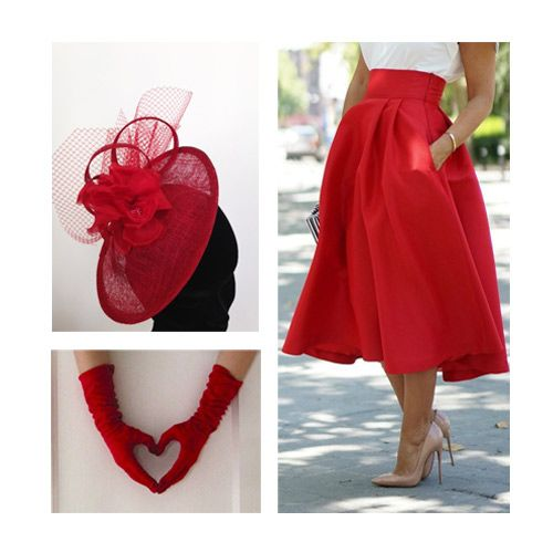 Stunning red outfit inspiration, ideal for a wedding, the races, or any exciting event you're attending this season! Headwear featured available to hire now. #red #gloves #skirt #outfit #fashion #style #inspiration #ideas #event #wedding #valentines #love #races #season #ascot #badminton #garden #party #headwear #headpiece #hat #fascinator #hire #hollyyoungmillinery #millinery #designer #bespoke
