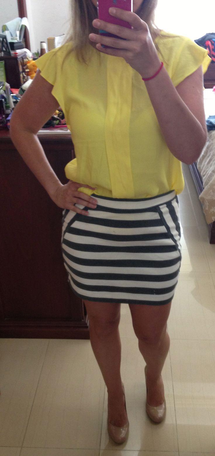 Yellow shirt outfit - Grey and White Striped skirt #gap. Yellow shirt #zara. Nude pumps #jessicasimpson • Nude pumps outfit, skirt outfit
