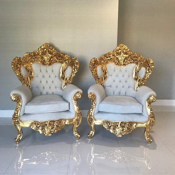 Chaise Baroque Trone 2 Disponible Chaise Capitonnes Rococo Etsy Baroque Furniture Baroque Decor Royal Furniture
