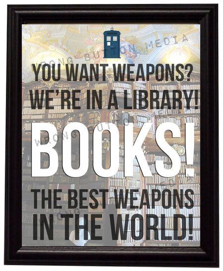 Doctor Who 10th Doctor Library Quote Art Print