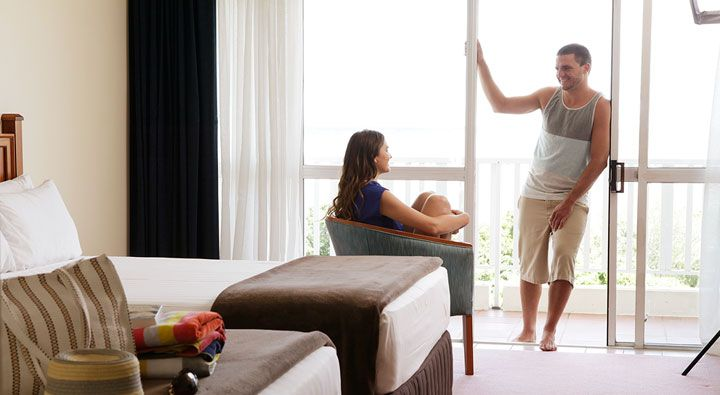 A Deluxe Waterview Room at Rydges Tradewinds Cairns.