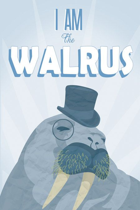 Beatles Poster Typography Art Print I Am the Walrus by pikselmatic