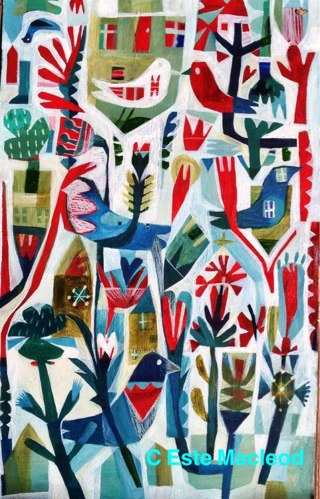 Este MacLeod 'Birdhouse' painting in acrylic. (Design to be used as textile #spoonflower end September 2014)