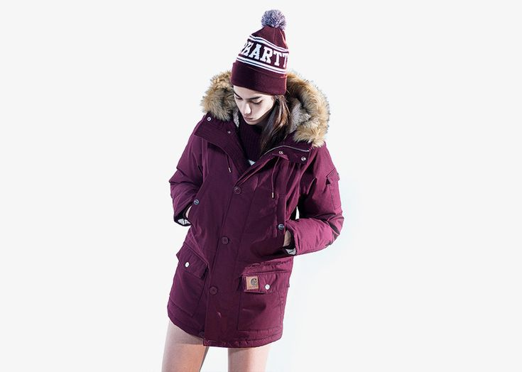 Carhartt WIP / woman red (vine) hooded jacket / dámská zimní bunda – červená, bordó  #carhartwip #winter #jacket #hooded #parka #bunda #zimni
