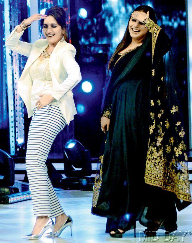 Rani Mukerji matched steps with Madhuri Dixit on 'Jhalak Dikhhla Jaa 7'. #Style #Bollywood #Fashion #Beauty