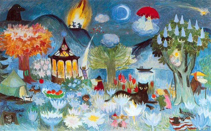 Tove Jansson_Pori_1984_summe ----- In 1984, 70 year old Tove Jansson painted her last monumental work for the Taikurin hattu (Hobgoblin's hat) kindergarten in Pori, Finland. Three-part mural presents Moominvalley in spring, summer and autumn.r