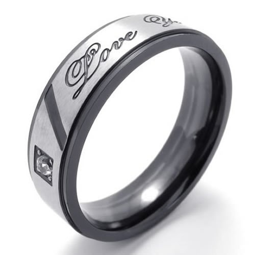 """KONOV Jewelry Classic Lover's Mens Ladies Titanium Stainless Steel Cubic Zirconia One-Stone Promise Ring """"Love You"""" Couples Engagement Wedding Bands, Color Black Gold Silver (Available in Size 5, 6, 7, 8, 9, 10, 11, 12, 13)"""