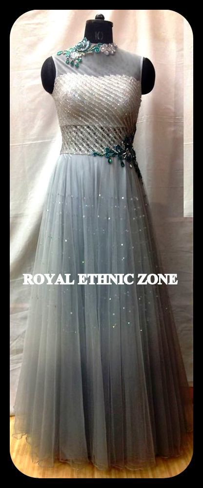 STYLE NO. REZ 239 GREY GOWN PRICE- 11000/- FABRIC- NET EMBROIDERY- HAND WORK