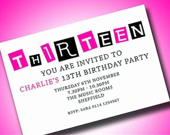 13th birthday invitation wording luxury