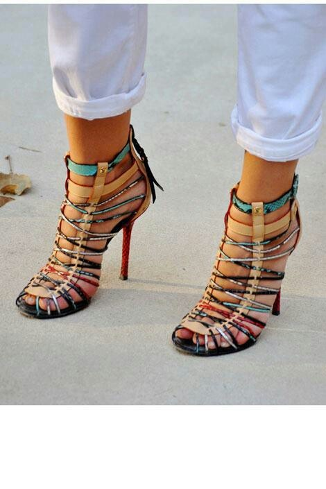 Multi colored strapy sandal
