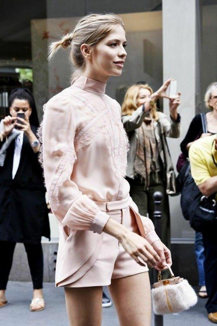 1 collection printemps été 2016 shorts et chemise en rose pale