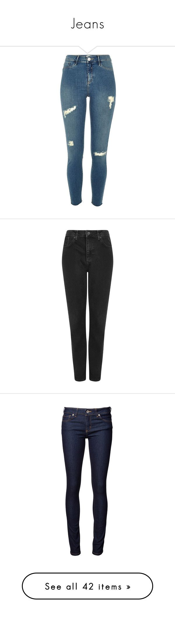 """""""Jeans"""" by cc-clarke ❤ liked on Polyvore featuring pants, jeans, bottoms, blue jeggings, tall leggings, tall pants, ripped leggings, blue leggings, trousers and black"""