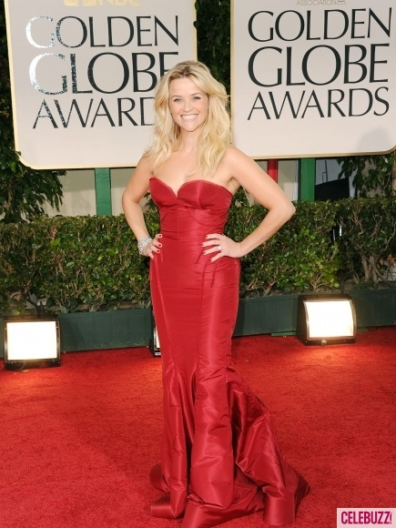 Red's her color! http://bit.ly/wA7g4H: Reese Witherspoon, Celebrity, Globes 2012, Golden Globe Award, Zac Posen, Ree Witherspoon, Red Carpets, Style Icons, Golden Globes Awards