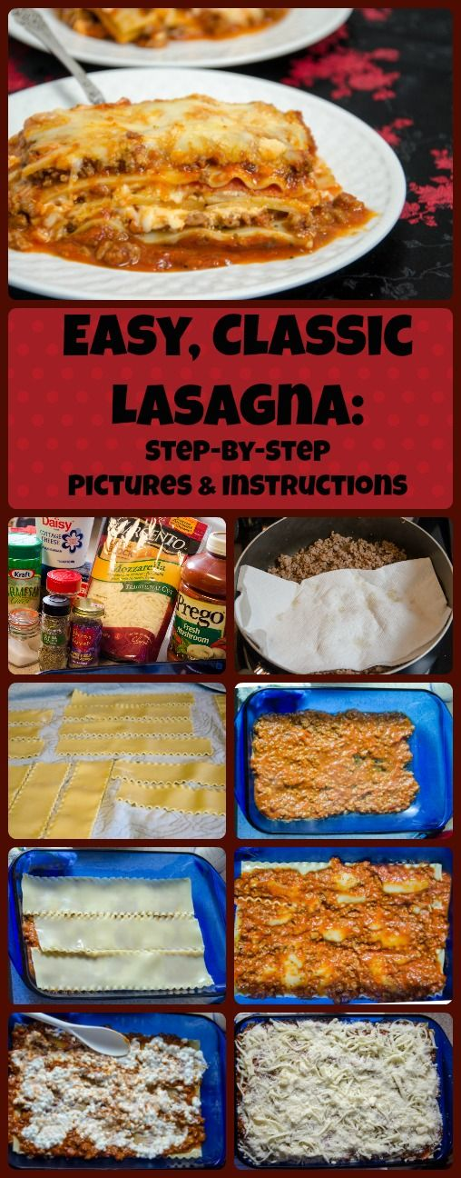 Easy, classic meat lasagna: two meats, three cheeses, delicious. Step-by-step pictures and instructions, printable recipe.