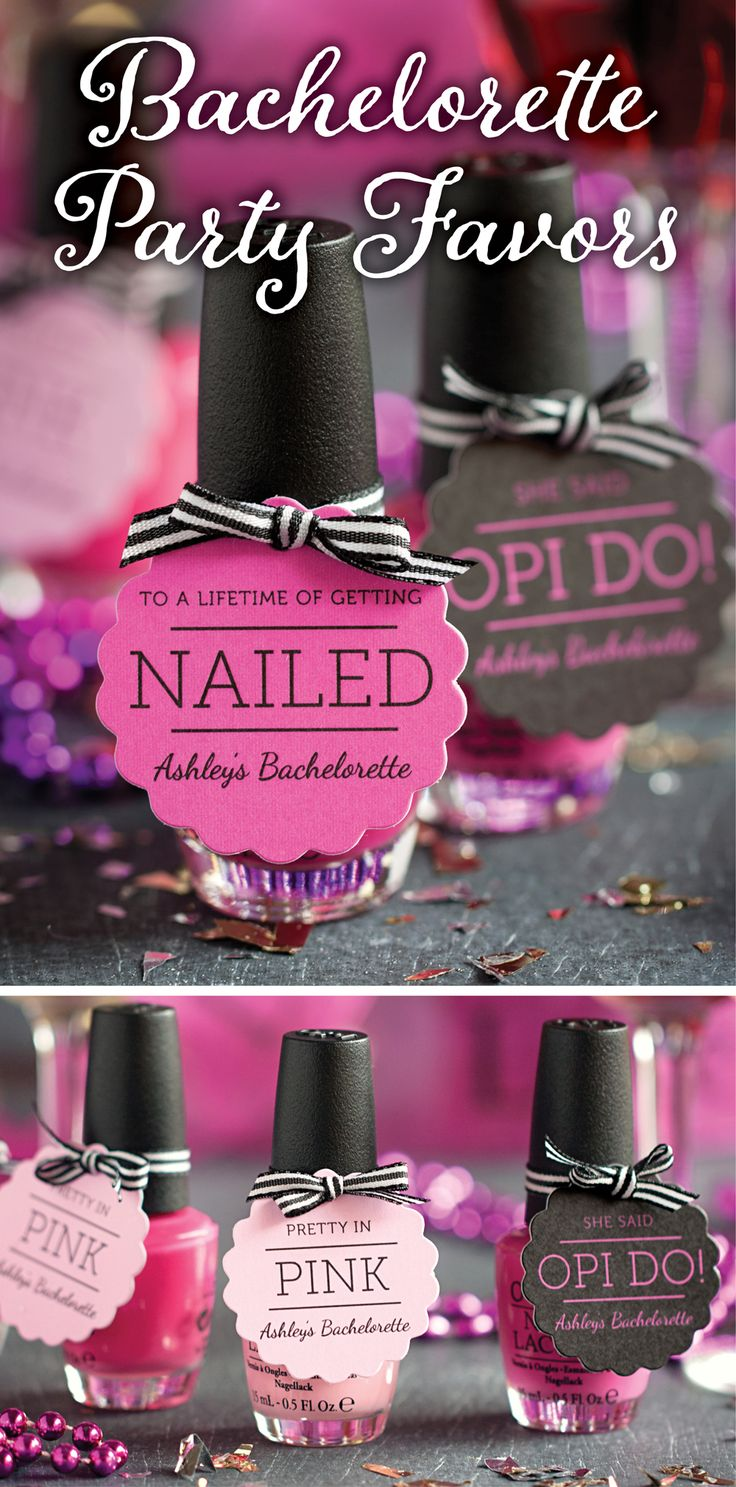 Bachelorette Party Favors - OPI nail polish with added fun phrase favor tags! From the Evermine Blog. www.Evermine.com.
