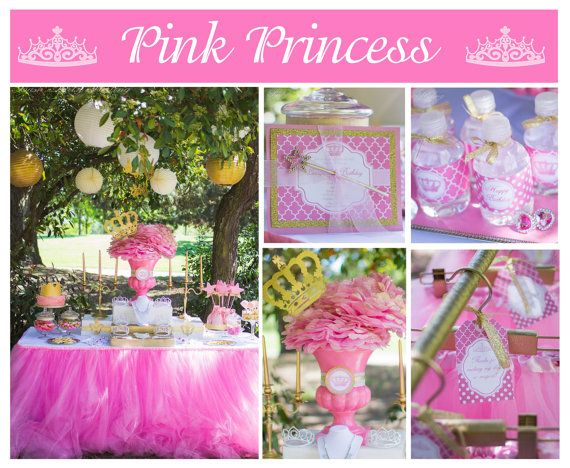 Girls Pink Princess Crown Birthday Package PRINTABLE Deluxe First Hot Party Pack Cupcake Express