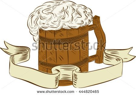 Drawing sketch style illustration of a medieval beer mug with foam set on isolated white background with ribbon done in retro style.