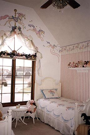 carousel horses bedroom beautiful window swags striped wallpaper rose accents ailina