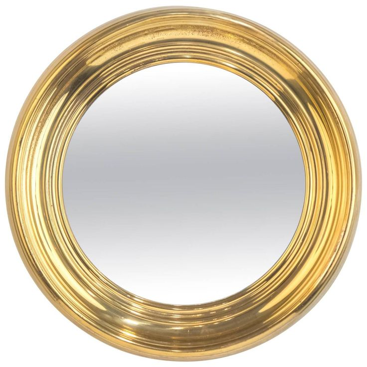 French Vintage Round Brass Mirror | From a unique collection of antique and modern wall mirrors at https://www.1stdibs.com/furniture/mirrors/wall-mirrors/