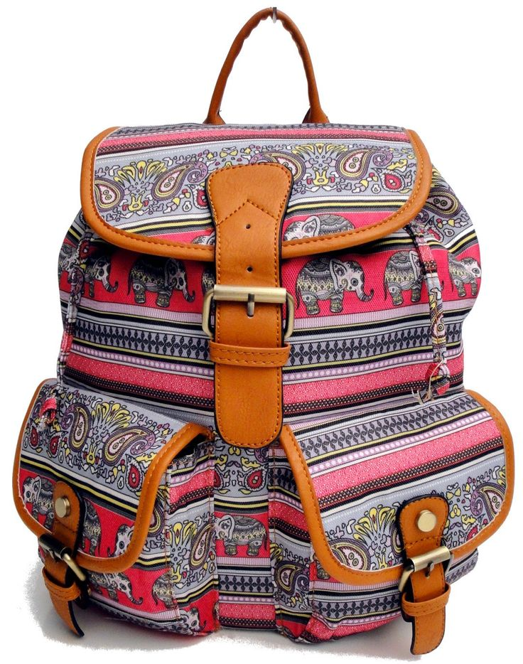 Beagles Vintage Elephant India Aztec Patterned Top Handle Backpack Rucksack Large School College Work A4 Bag Purse Retro by BagintheDays on Etsy