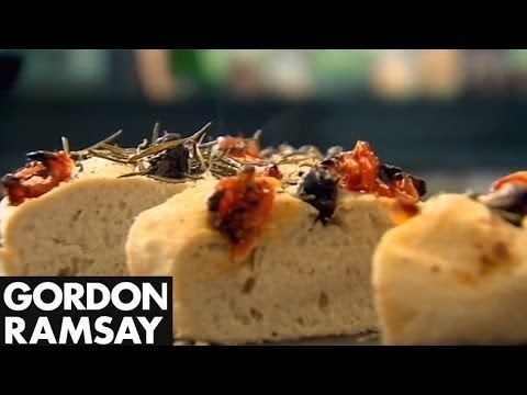 ▶ Olive, Rosemary and Tomato Focaccia - Gordon Ramsay - YouTube  I absolutely love Gordon Ramsay. I need to try this, it will only be my second bread making venture but a girl can try!