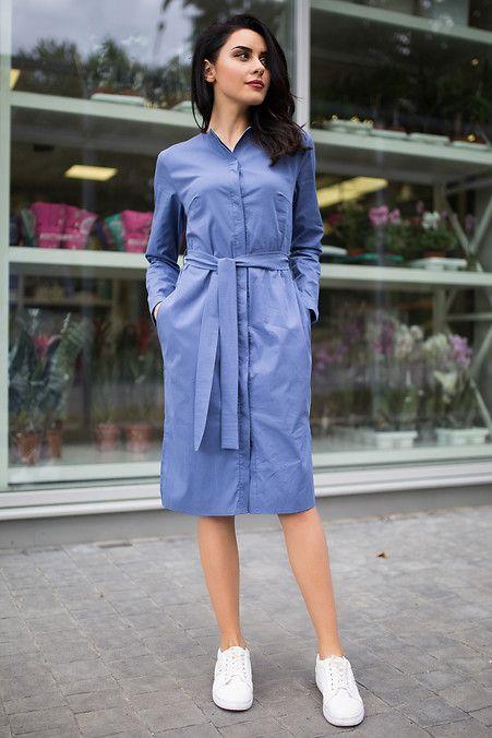9bfe1cd57b9 Синее хлопковое платье-рубашка Rena с пуговицами и поясом