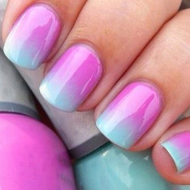 115 best nails images on pinterest summer nail art summer nails ombre nails paint your nails white and wait till theyre completely dry chose two or three colors that would look good together and apply them to a prinsesfo Image collections