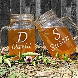 Set of 2 Personalized Wedding Mason Jar Glasse Mugs Handl Bulk with Bride and Groom Name for Bridal Party Favor