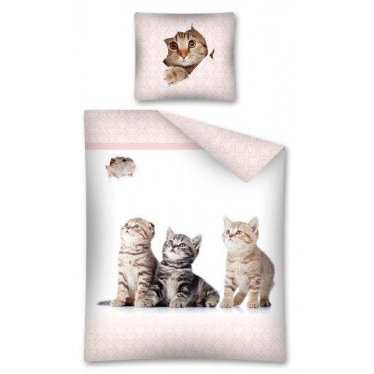 Bavlnené posteľné obliečky bielo ružovej farby s malými mačkami
