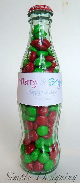 M&M bottle - easy gift idea, could be adapted to any occasion